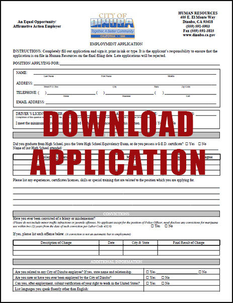 Download the City of Dinuba Employement Application